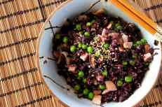 Rice 'salad' with bacon and Chinese mushroom,gluten free